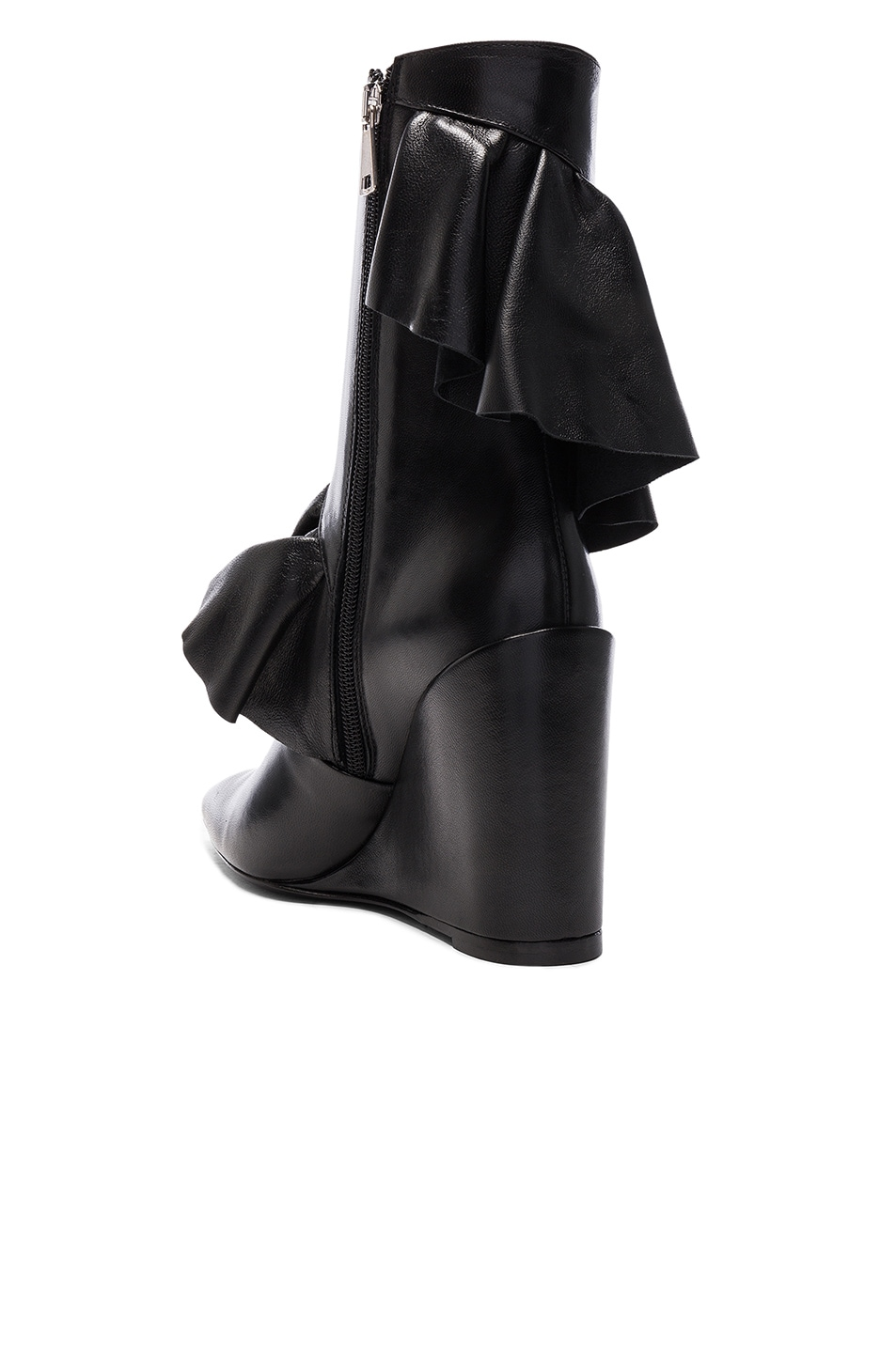 Image 3 of J.W. Anderson Mid Calf Leather Ruffle Boots in Black
