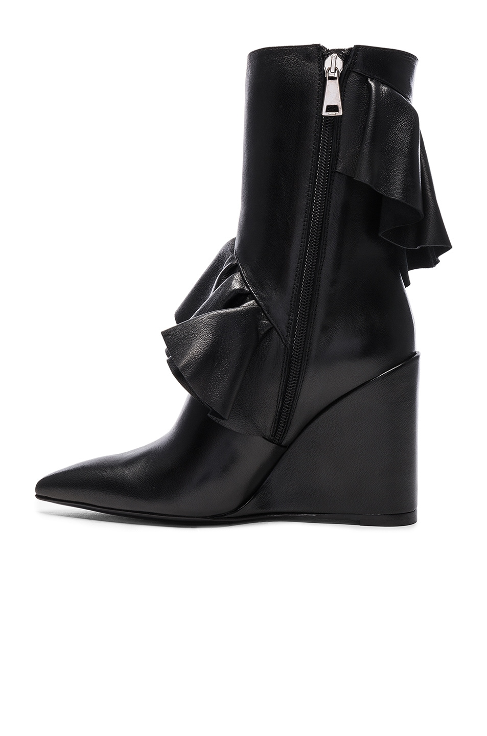 Image 5 of J.W. Anderson Mid Calf Leather Ruffle Boots in Black