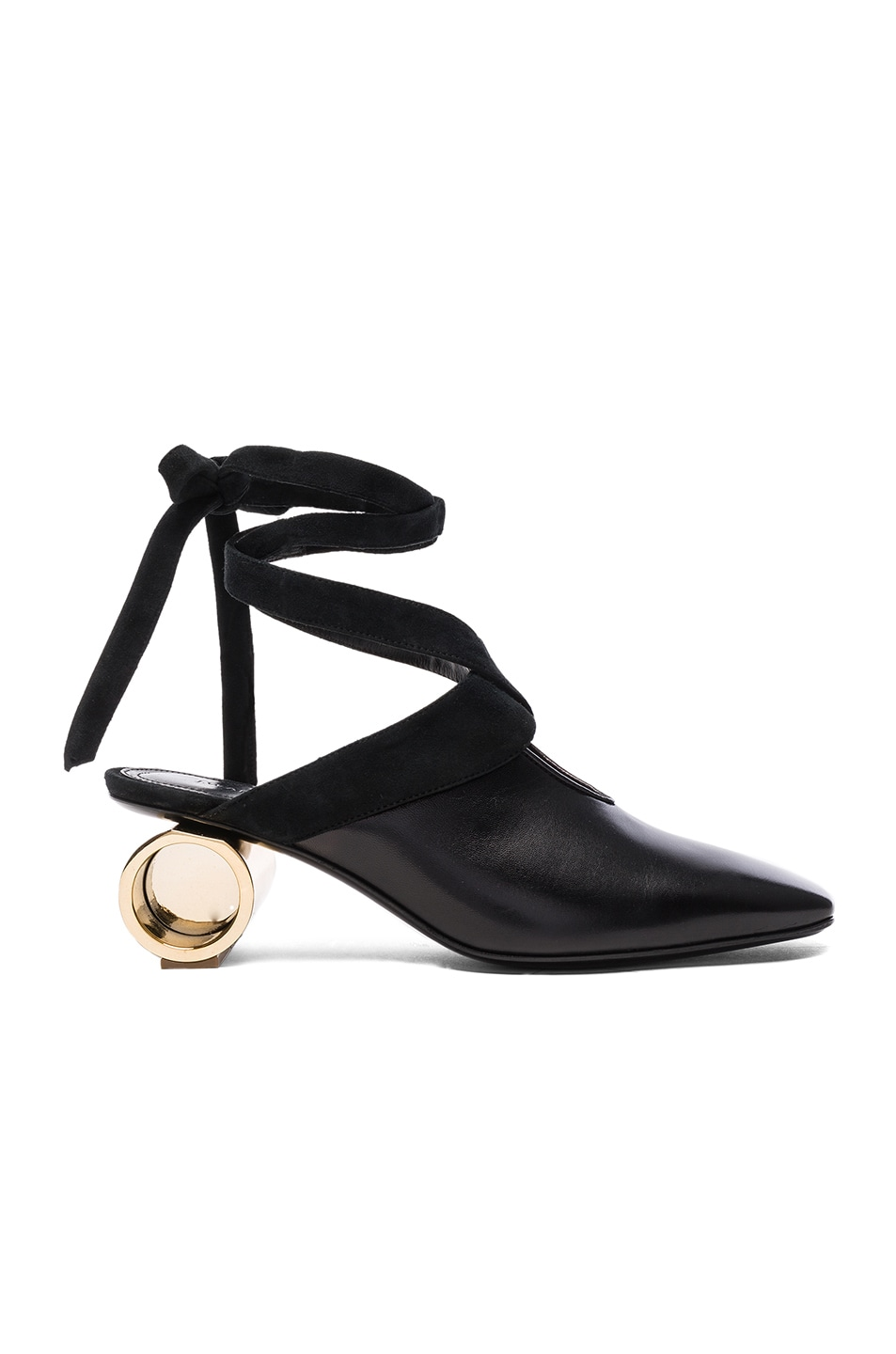 Women'S Cylinder Heeled Leather Ballerina Shoes In Black
