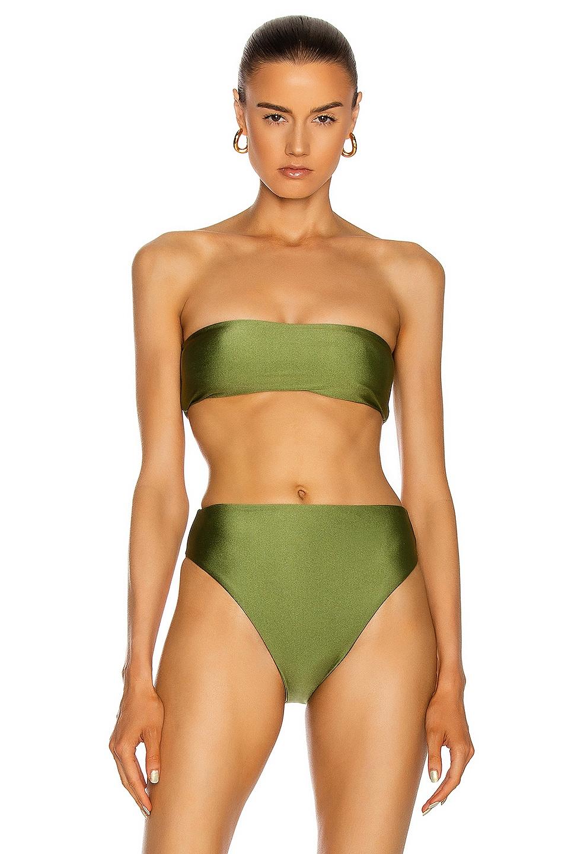 Image 1 of JADE SWIM All Around Bandeau Bikini Top in Olive Sheen