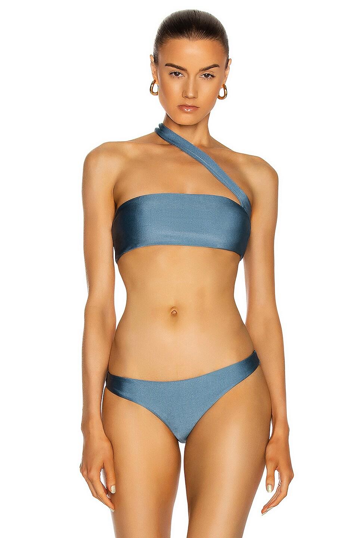 Image 1 of JADE SWIM Halo Bikini Top in Blue Sheen