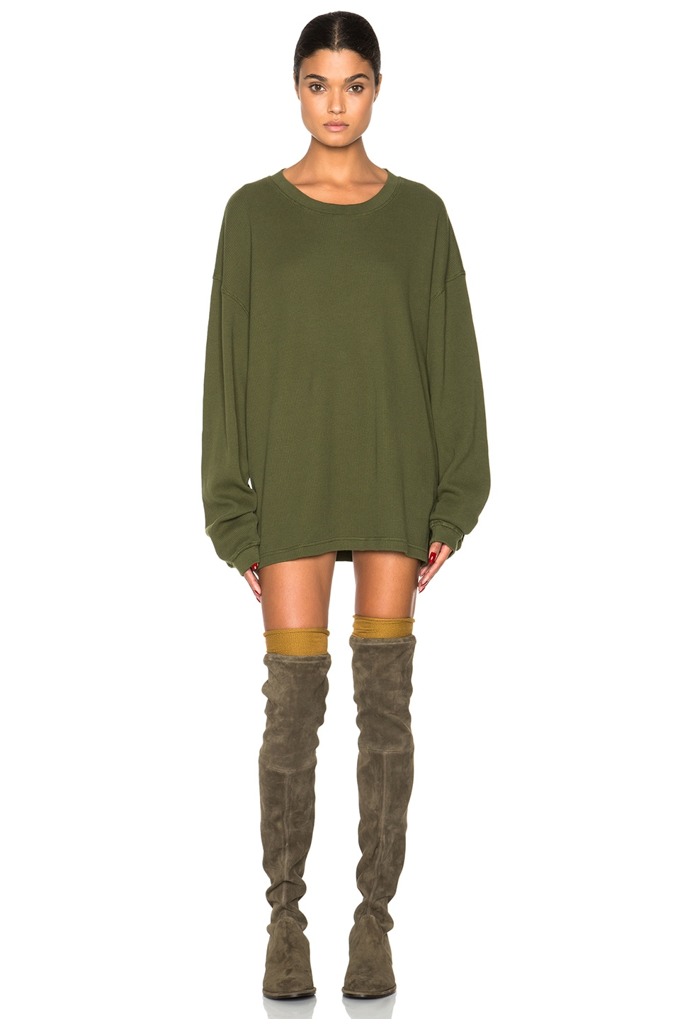 Image 1 of Kanye West x Adidas Originals Thermal Long Sleeve Shirt in Rifle Green