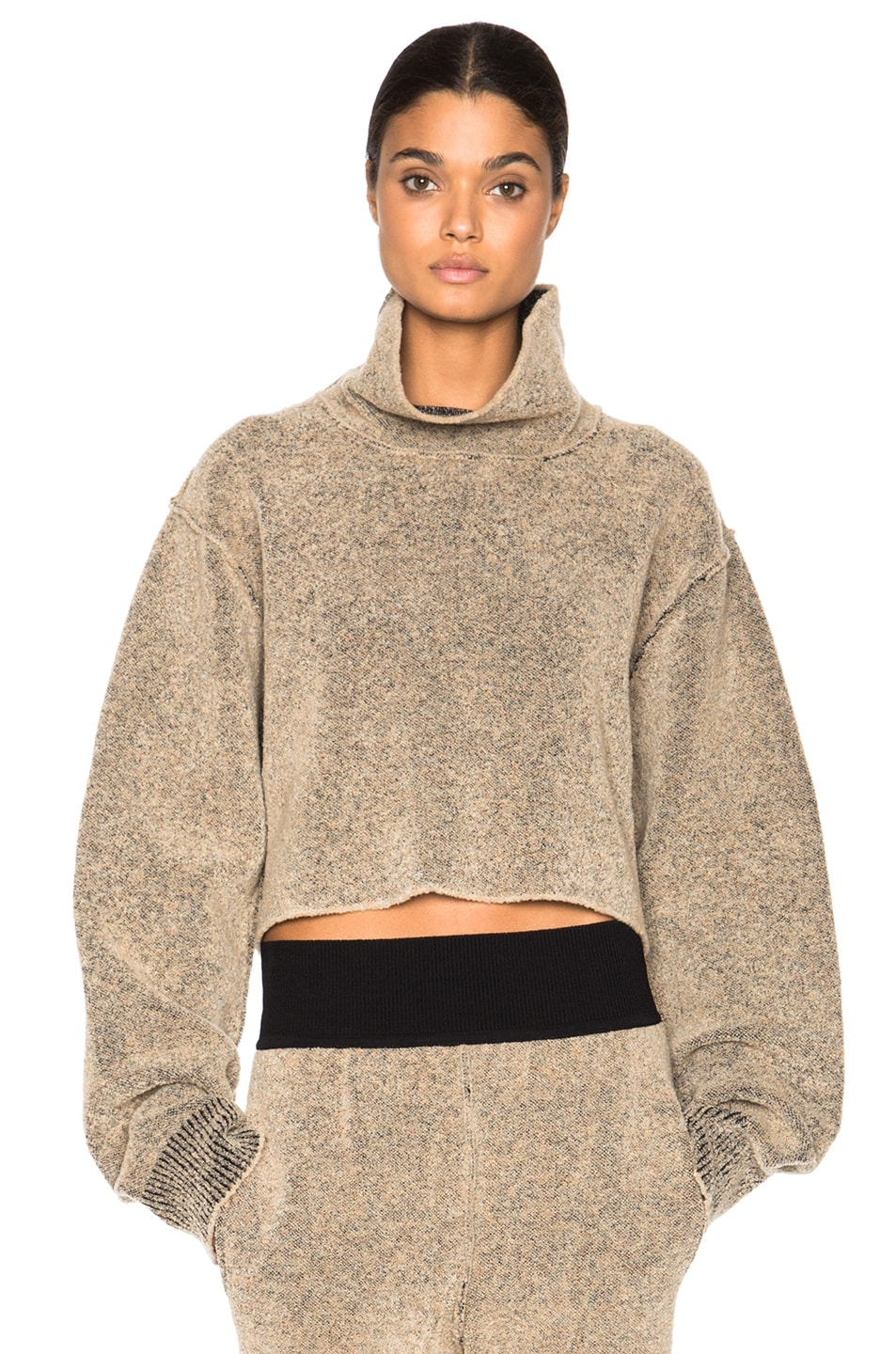 Kanye West x Adidas Originals Cropped Boucle Sweater in Brown | FWRD
