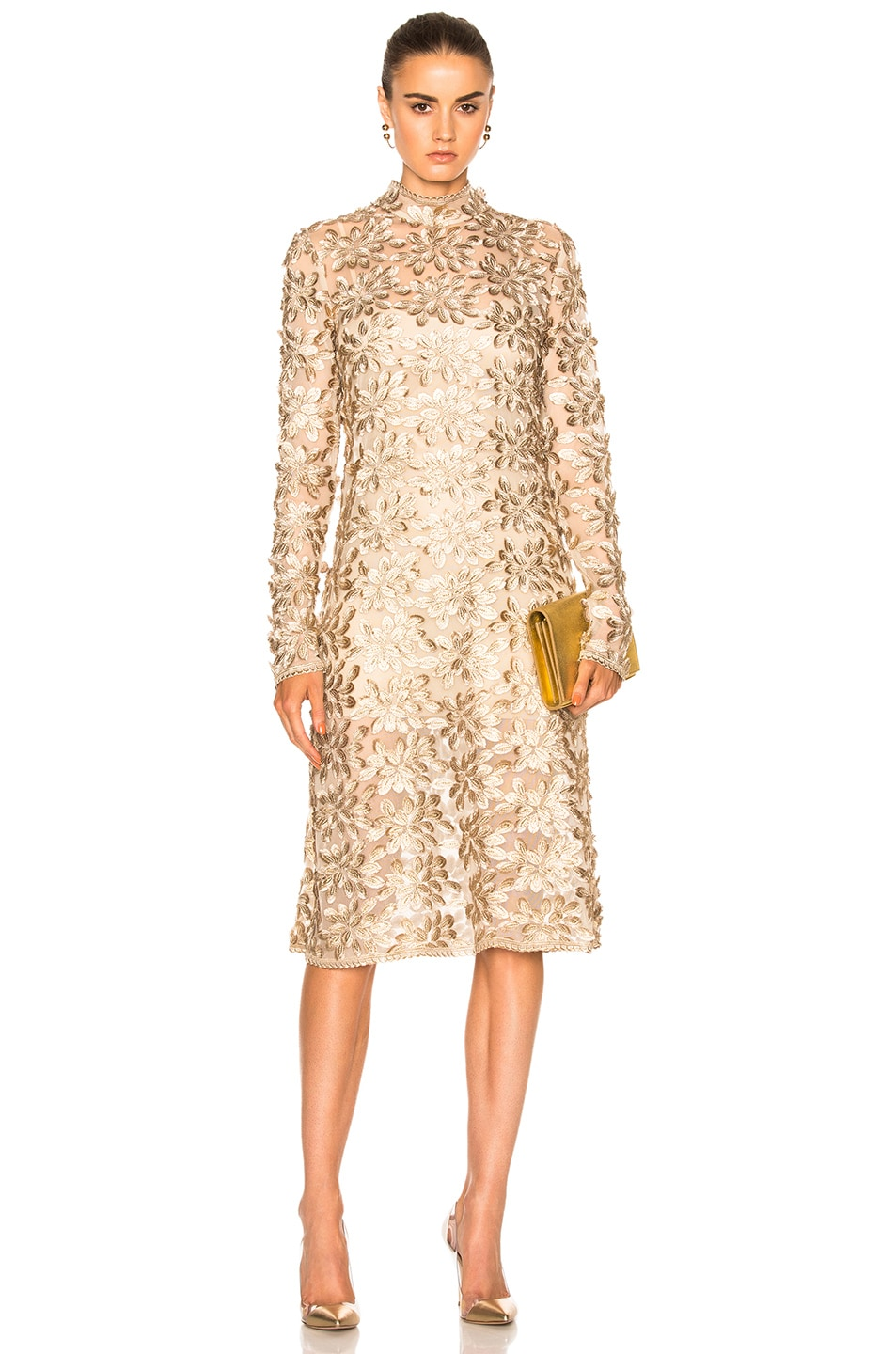 Kate Sylvester Pola Midi Dress in metallics