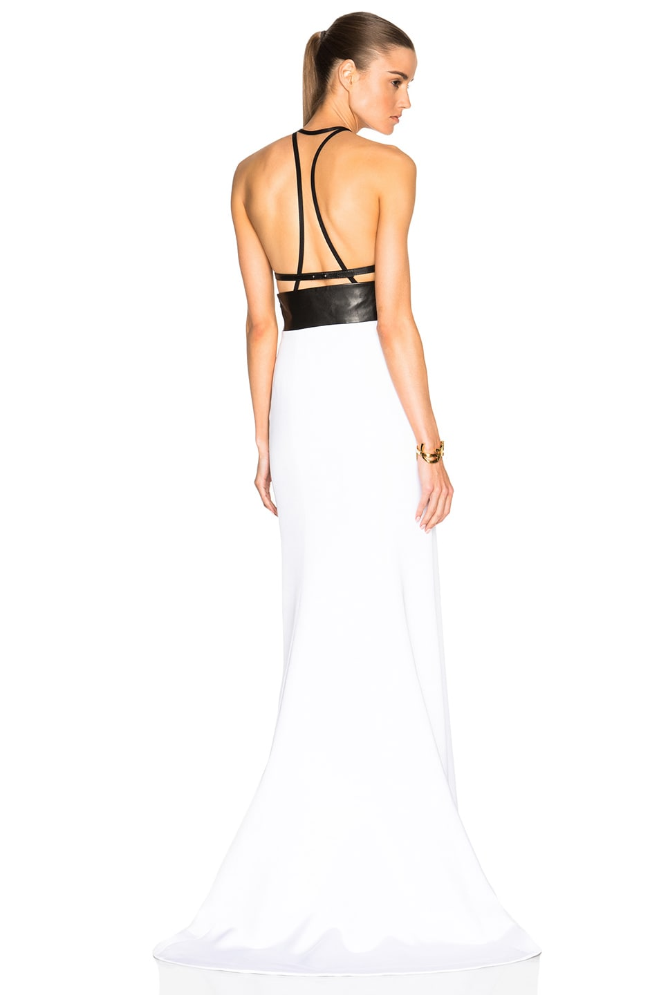 Image 1 of KAUFMANFRANCO Boarded Crepe Gown in Optic & Jet