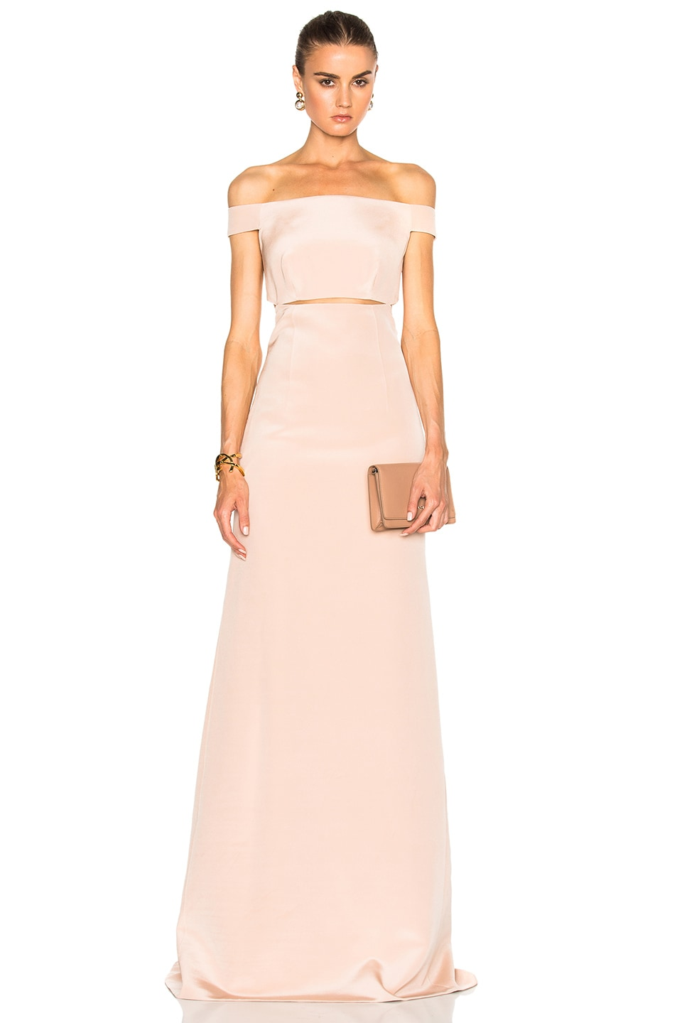 Image 1 of KAUFMANFRANCO Off Shoulder Column Gown in Ginger Frost