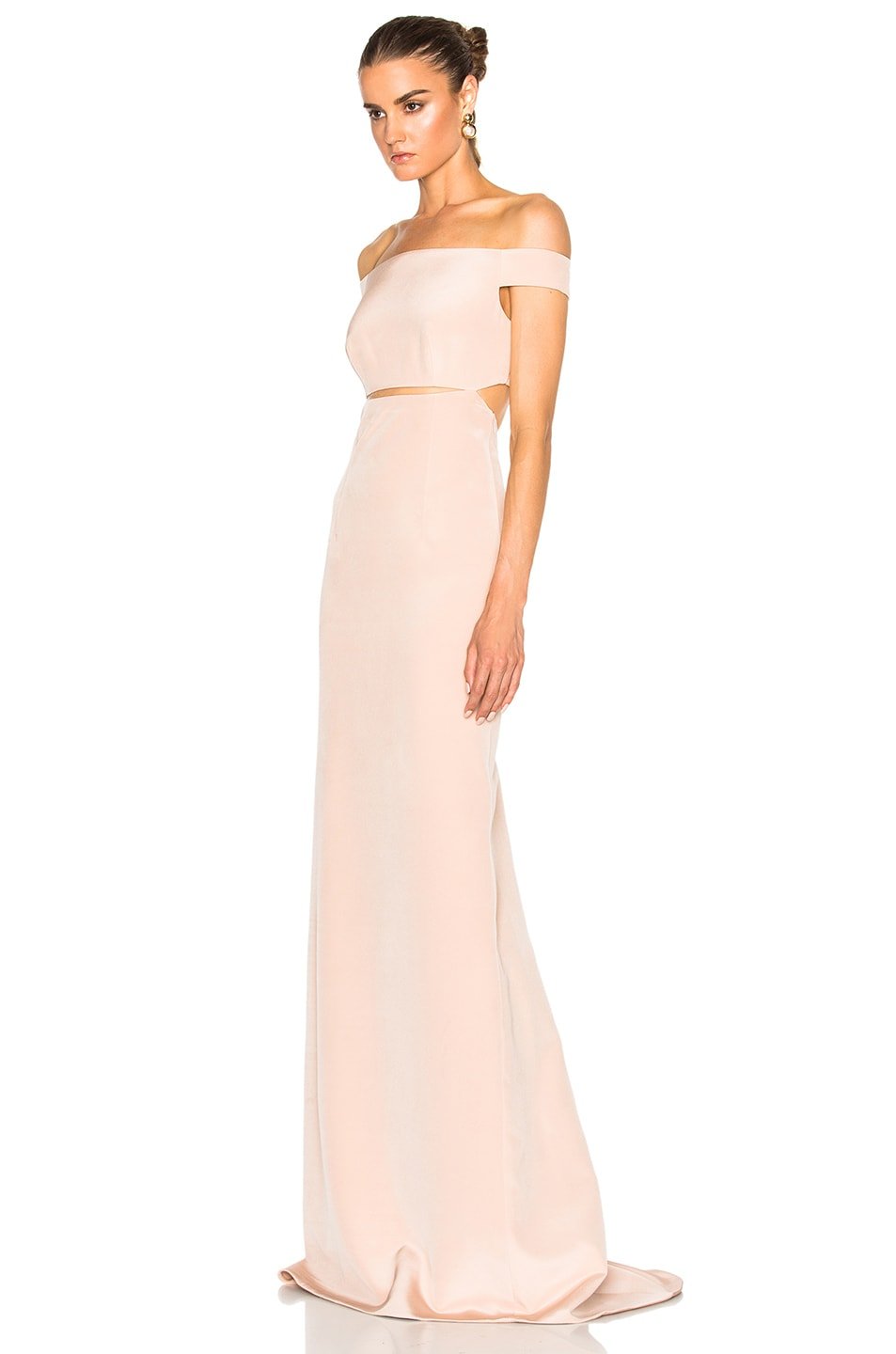 KAUFMANFRANCO Off Shoulder Column Gown in Ginger Frost | FWRD