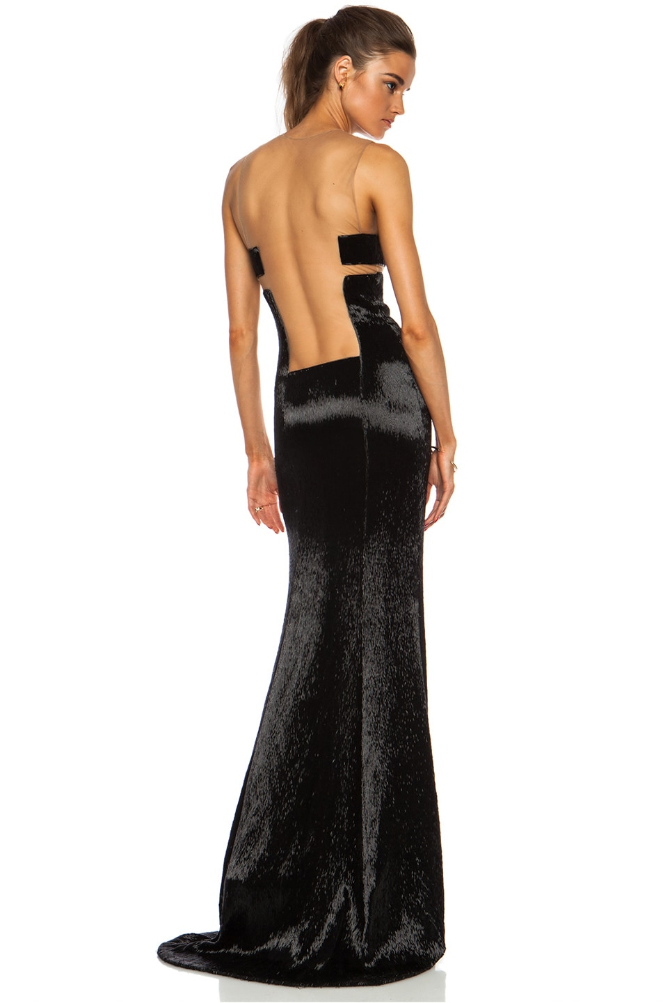 Image 1 of KAUFMANFRANCO Liquid Glass Column Gown in Onyx