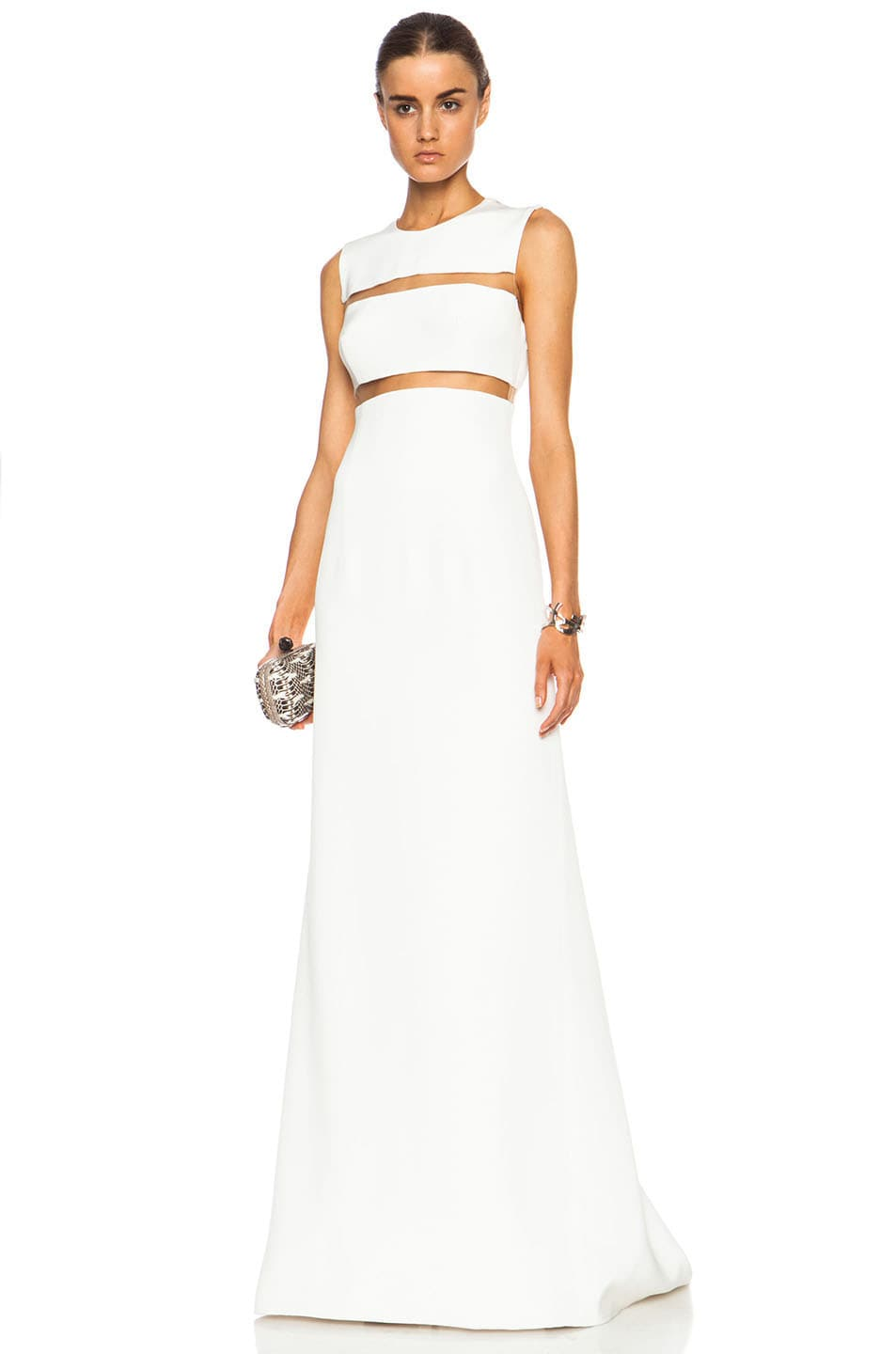 Image 1 of KAUFMANFRANCO Silk Crepe Illusion Column Gown in Ivory