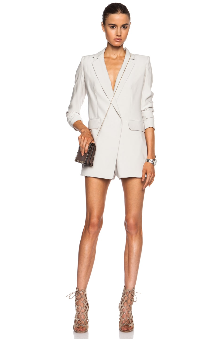 Image 1 of KAUFMANFRANCO Sanded Silk Suiting Romper in Putty