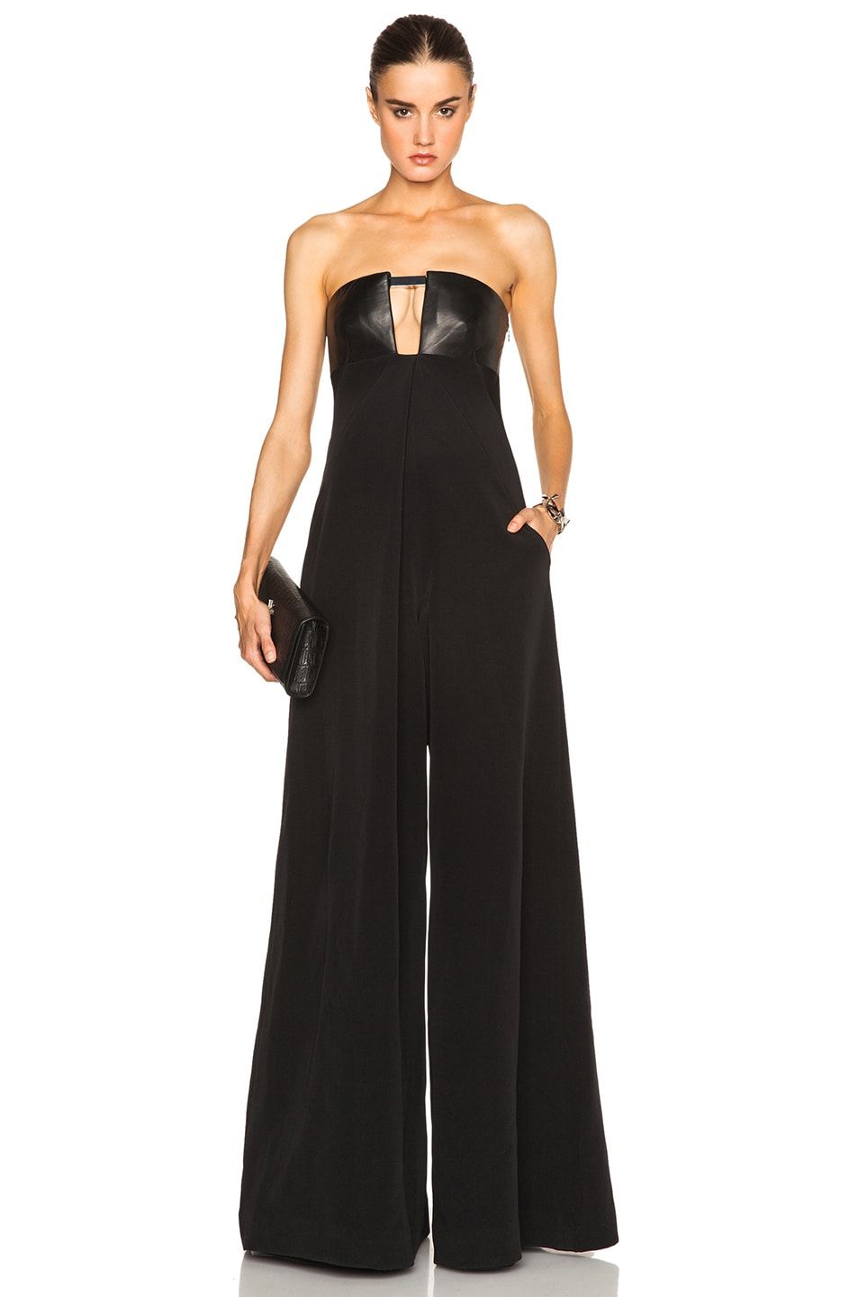 Image 1 of KAUFMANFRANCO Leather Detail Jumpsuit in Onyx