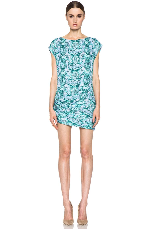 Image 1 of Kelly Wearstler Mirror Print Cocoon Dress in Blue Multi