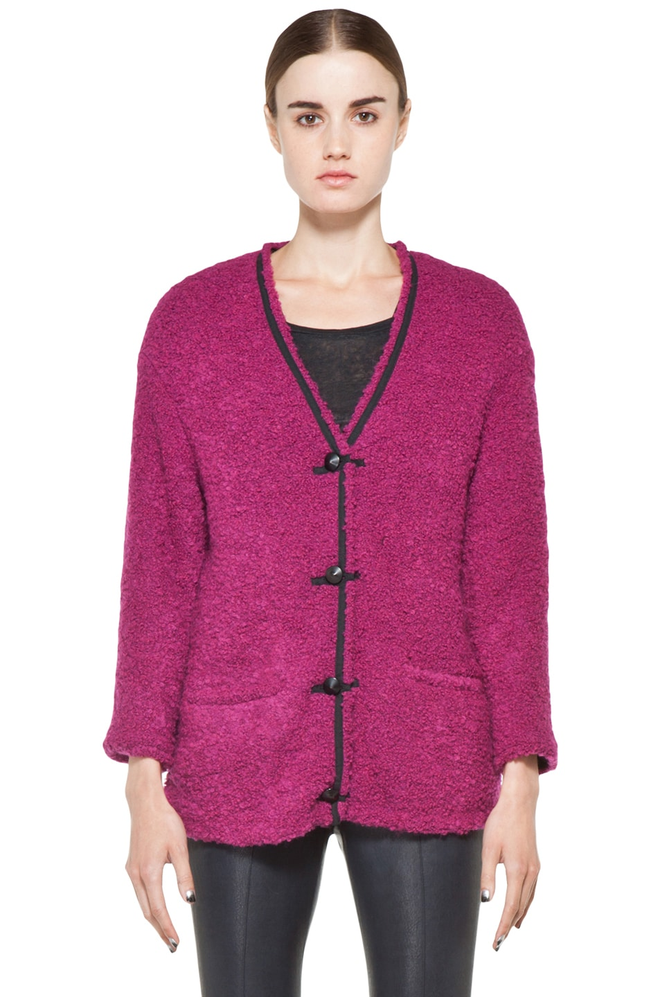 Image 1 of Kelly Wearstler Looped Boucle Seattle Jacket in Fuchsia