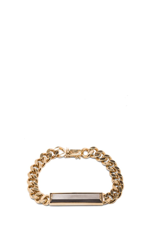 Image 1 of Kelly Wearstler Normandie Antique Brass Bracelet in Gold & Faceted Pyrite