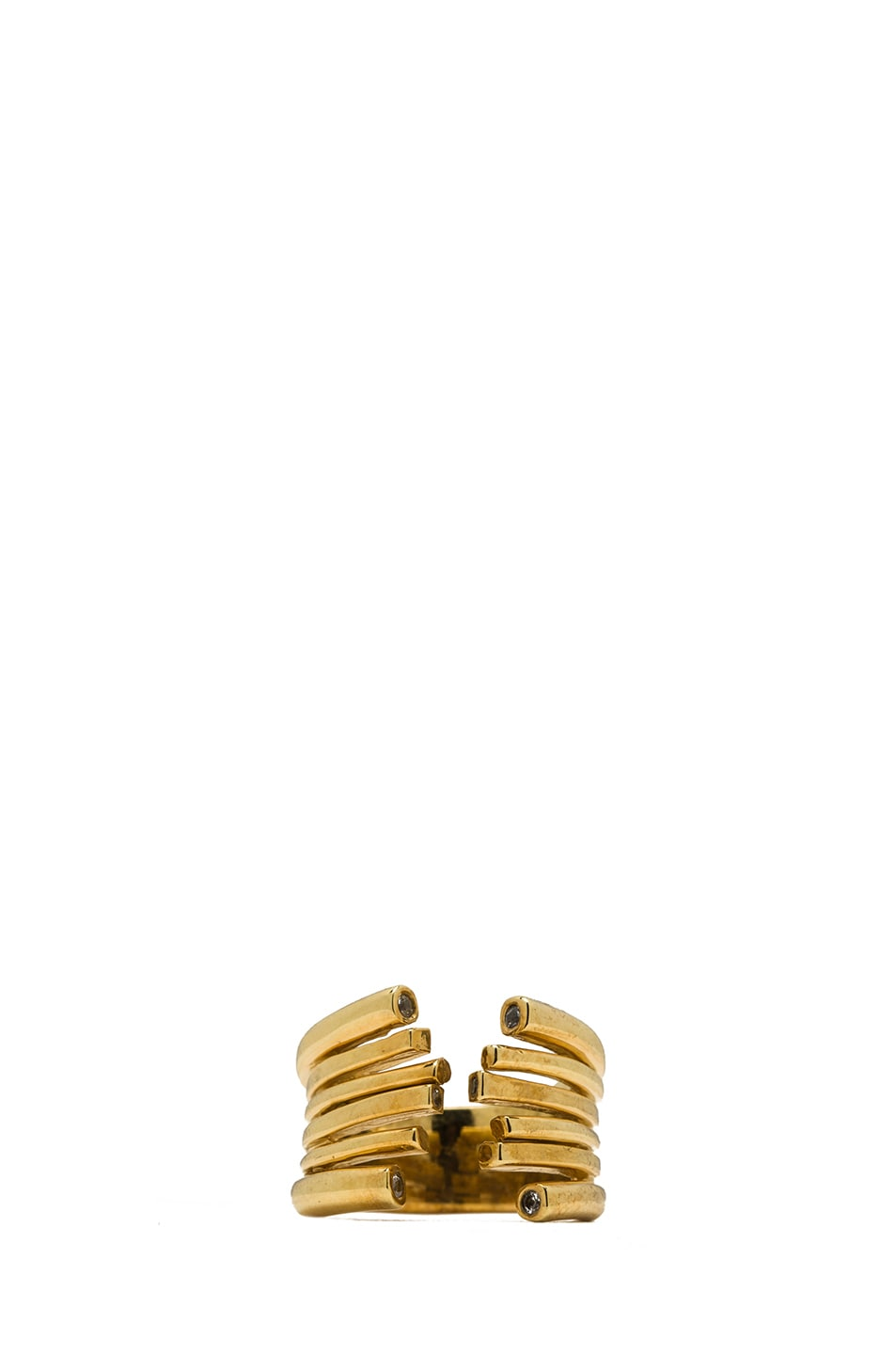 Image 1 of Kelly Wearstler Fulham Plated Brass Ring in Gold & White Sapphire