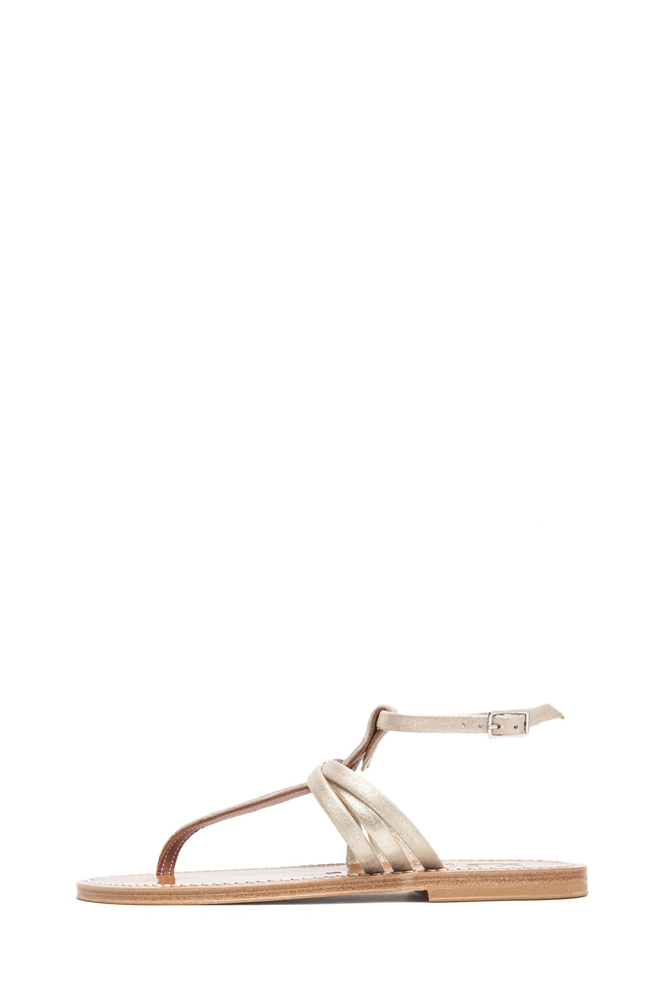 Image 1 of K Jacques Tri Strap Metallic Leather T-Strap Sandals in Velam Platine