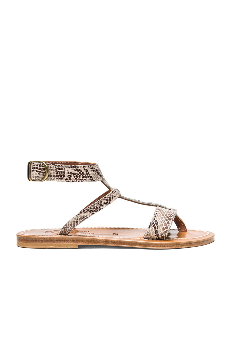 Image 1 of K Jacques Corvette Snakeskin Embossed Leather Sandals in Duna