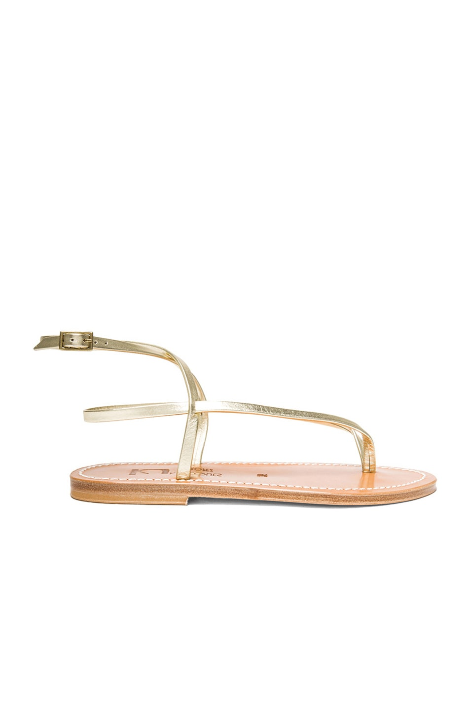 Image 1 of K Jacques Delta Metallic Leather Ankle Strap Sandals in Platine