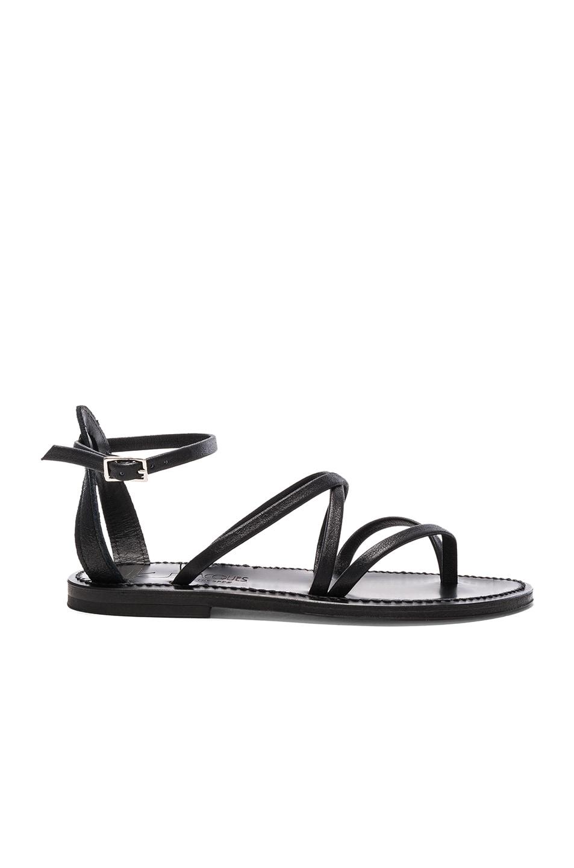 c54c71daa638 Image 1 of K Jacques Leather Epicure Sandals in Velam Noir