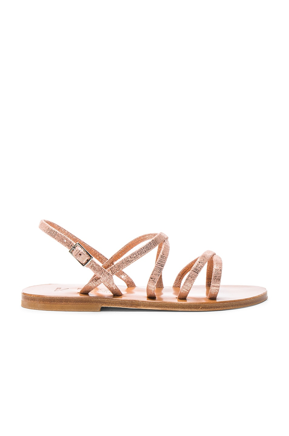 Image 1 of K Jacques Metallic Suede Batura Sandals in Rey Peach