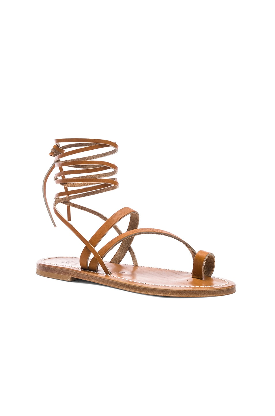 Image 2 of K Jacques Ellada Ankle Wrap Sandal in Pul Natural