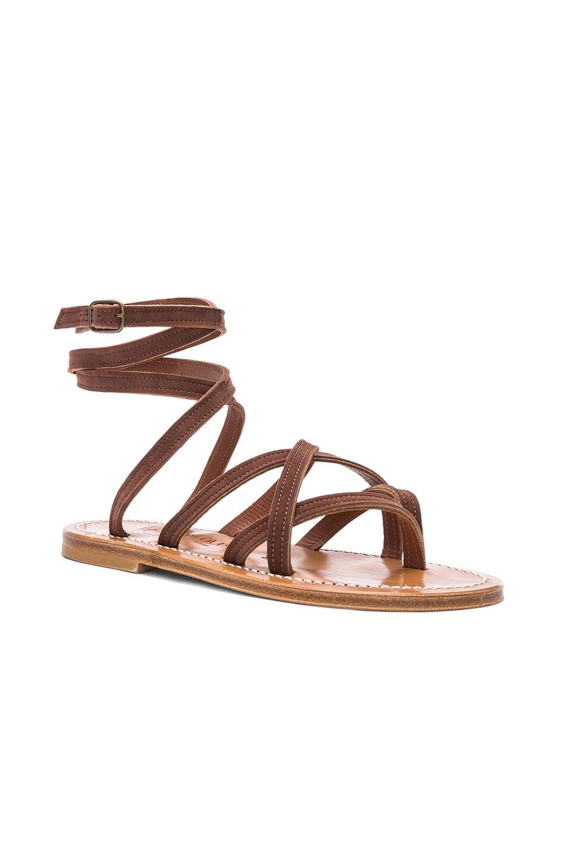 Image 2 of K Jacques Zenobie Ankle Wrap Sandal in Velours Chocolat