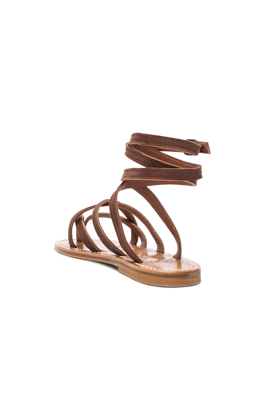 Image 3 of K Jacques Zenobie Ankle Wrap Sandal in Velours Chocolat