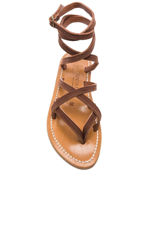 Image 4 of K Jacques Zenobie Ankle Wrap Sandal in Velours Chocolat