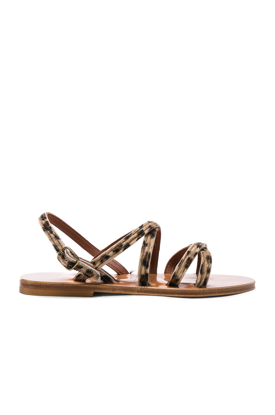 Image 1 of K Jacques Calf Hair Datura CC Sandals in Horsy Leopard