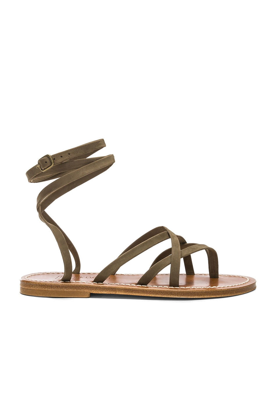 Image 1 of K Jacques Zenobie Sandal in Nubuck Kaki