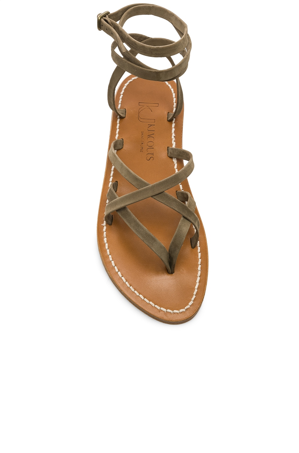 Image 4 of K Jacques Zenobie Sandal in Nubuck Kaki