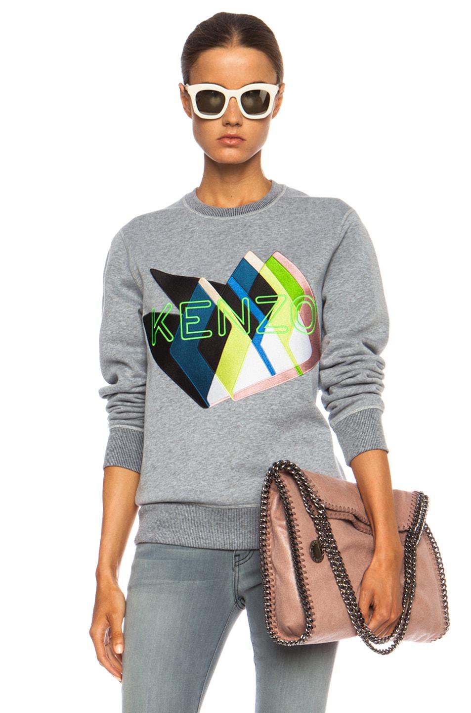 Image 1 of KENZO Twin Peaks Logo Cotton-Blend Sweatshirt in Dove Grey