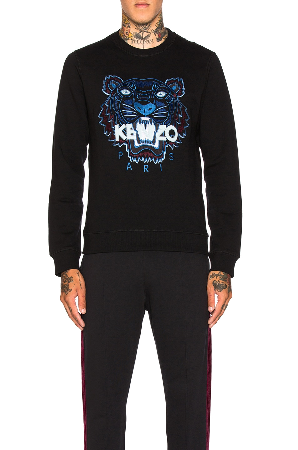 Image 1 of Kenzo Tiger Embroidered Sweatshirt in Black