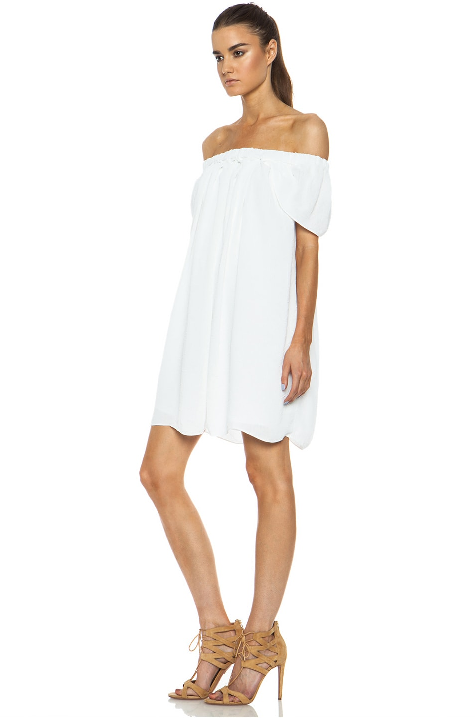 Image 2 of Kenzo Creased Georgette Acetate-Blend Dress in Optic White