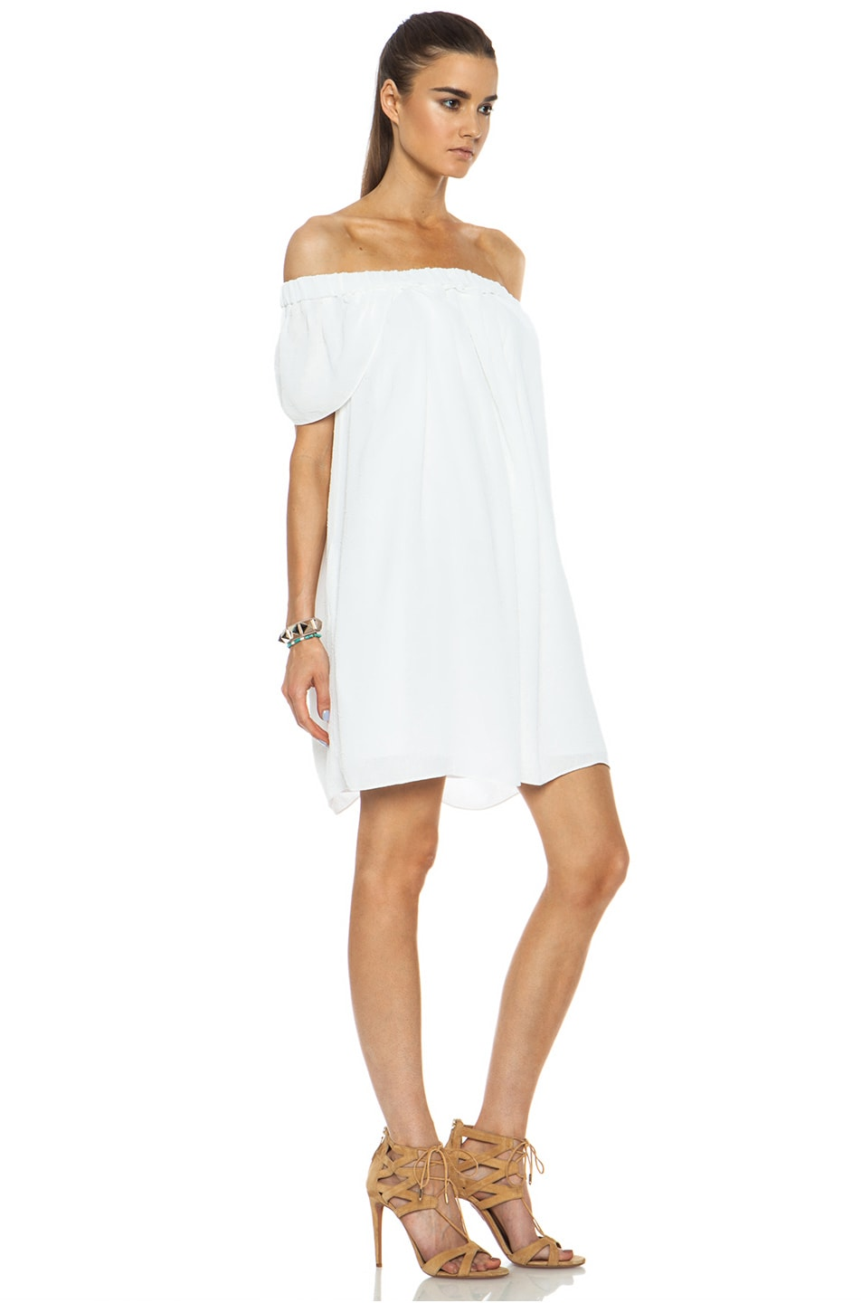 Image 3 of Kenzo Creased Georgette Acetate-Blend Dress in Optic White