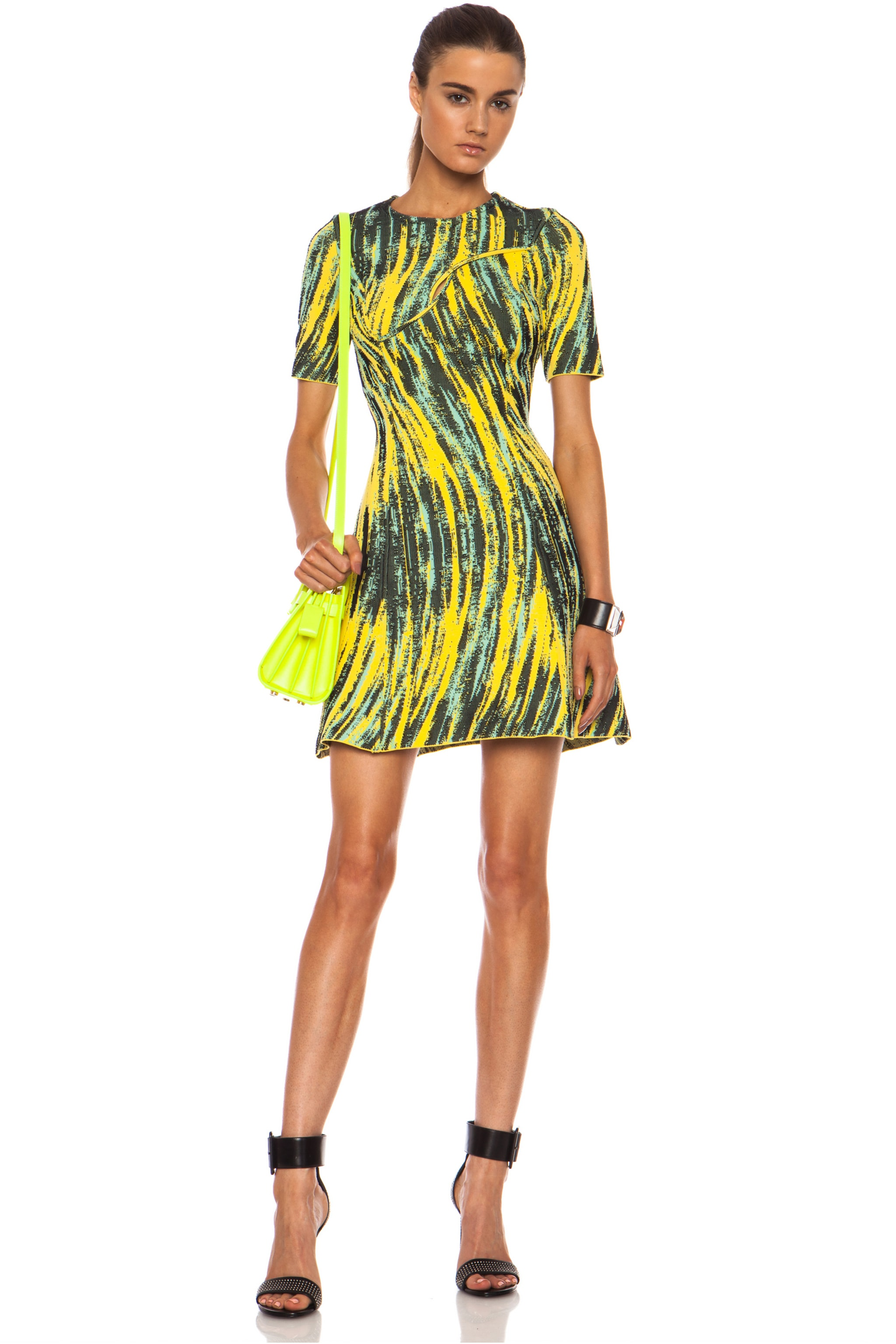 Image 1 of KENZO High Waves Nylon Jacquard Crossover Dress in Reed