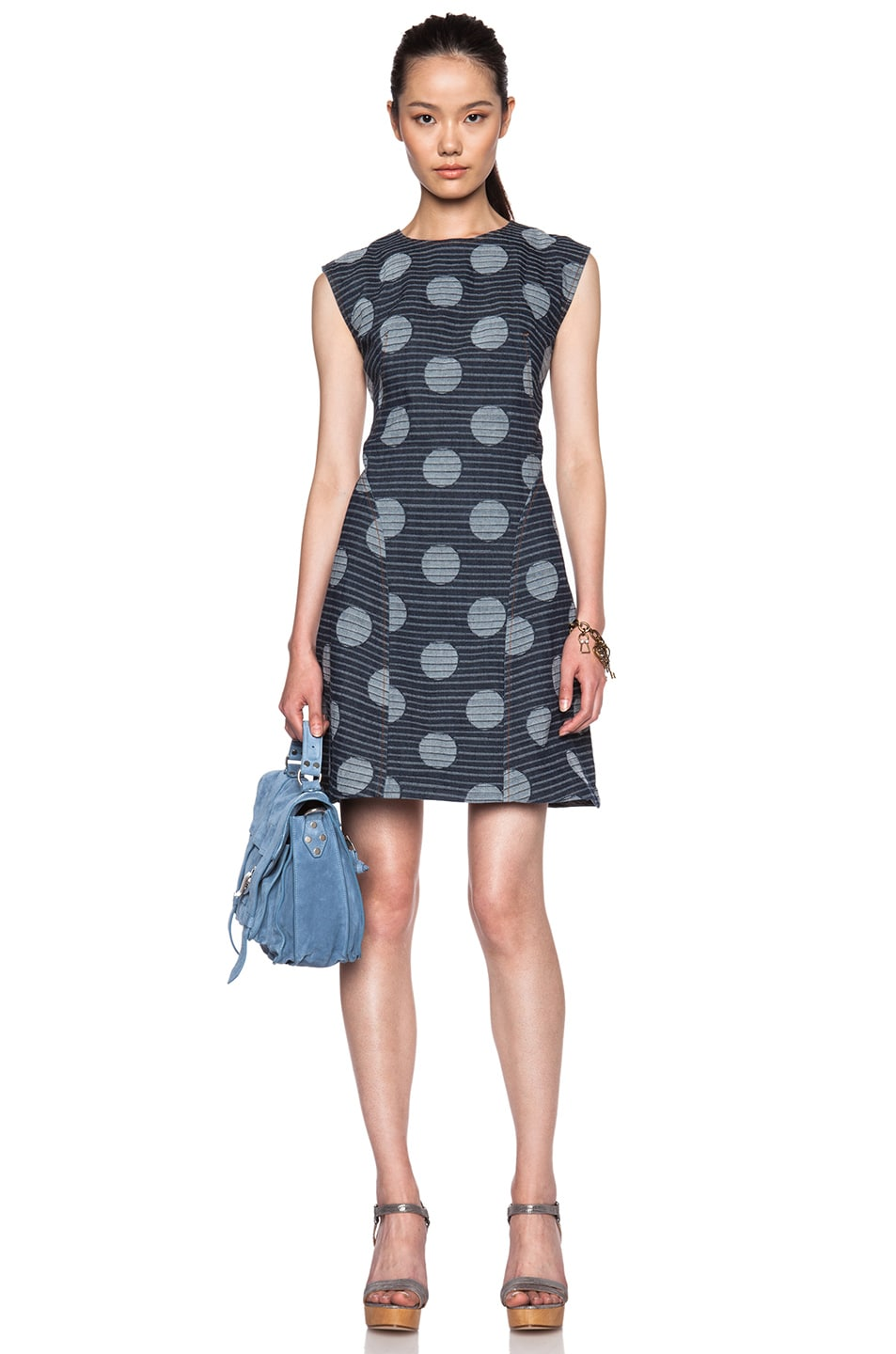 Image 1 of KENZO Dots and Stripes Denim Dress in Navy
