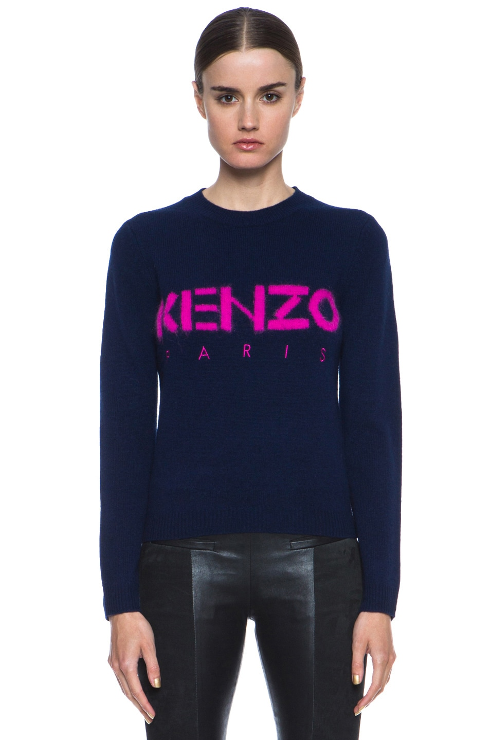 Image 1 of KENZO Logo Sweater in Bleu Nuit