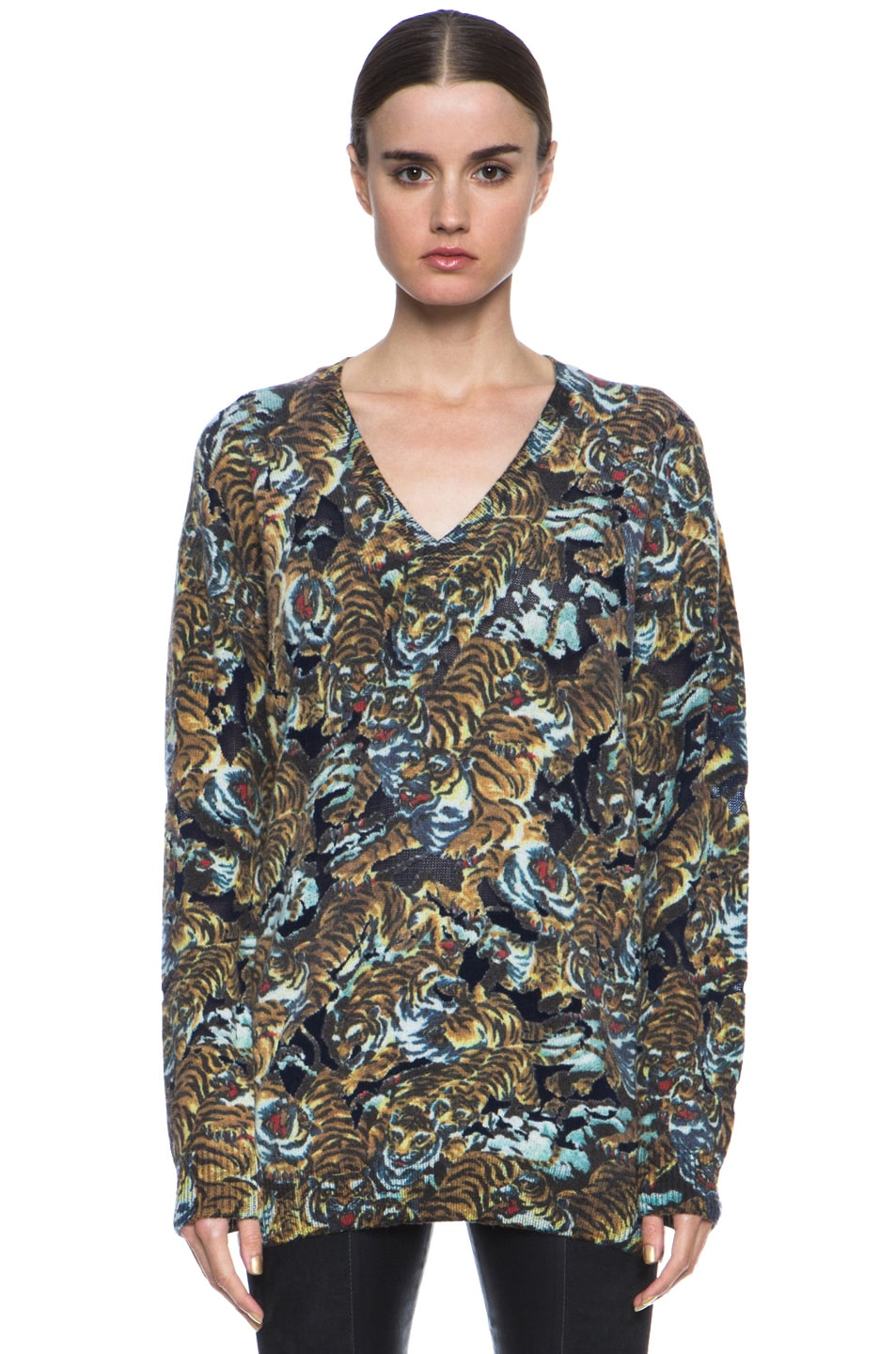 ad5529c7 Image 1 of Kenzo Flying Tiger Print with Devore Wool-Blend Sweater in Bleu  Nuit