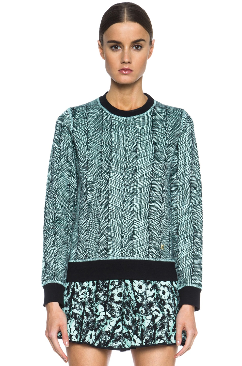 Image 1 of KENZO Graphic Curtain Cotton Sweatshirt in Light Green