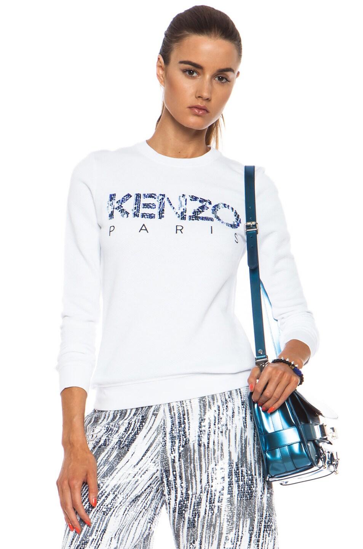 Image 1 of KENZO Ocean Logo Cotton Sweatshirt in Optic White