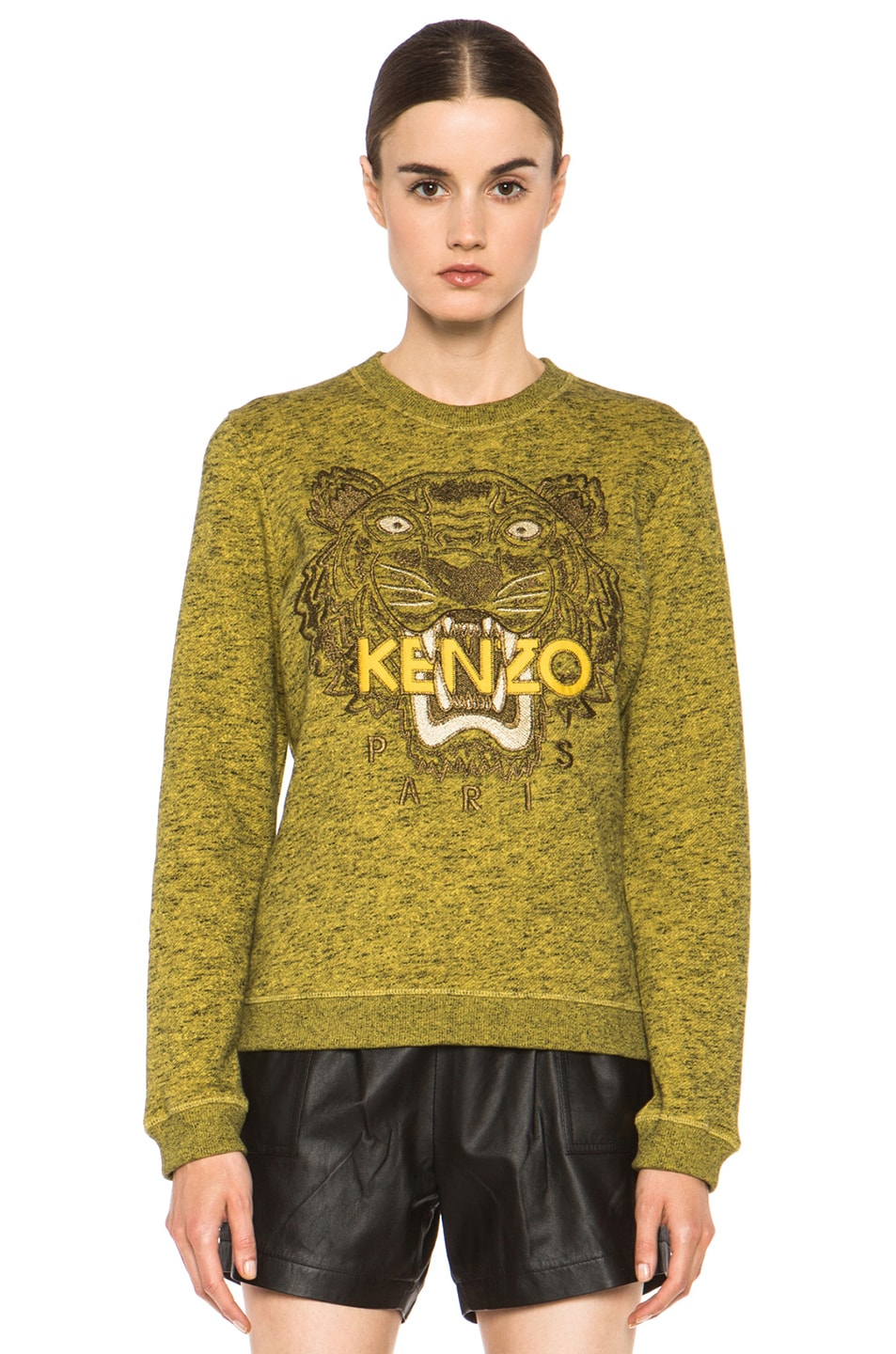Image 1 of KENZO Embroidered Tiger Marl Sweatshirt in Citron