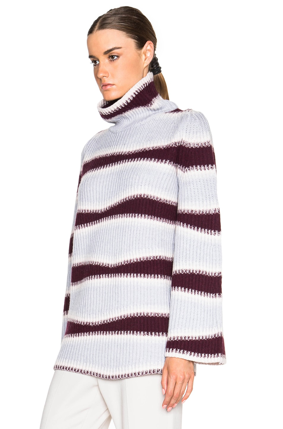 Image 2 of Kenzo Abstract Striped Wool Sweater in Burgundy