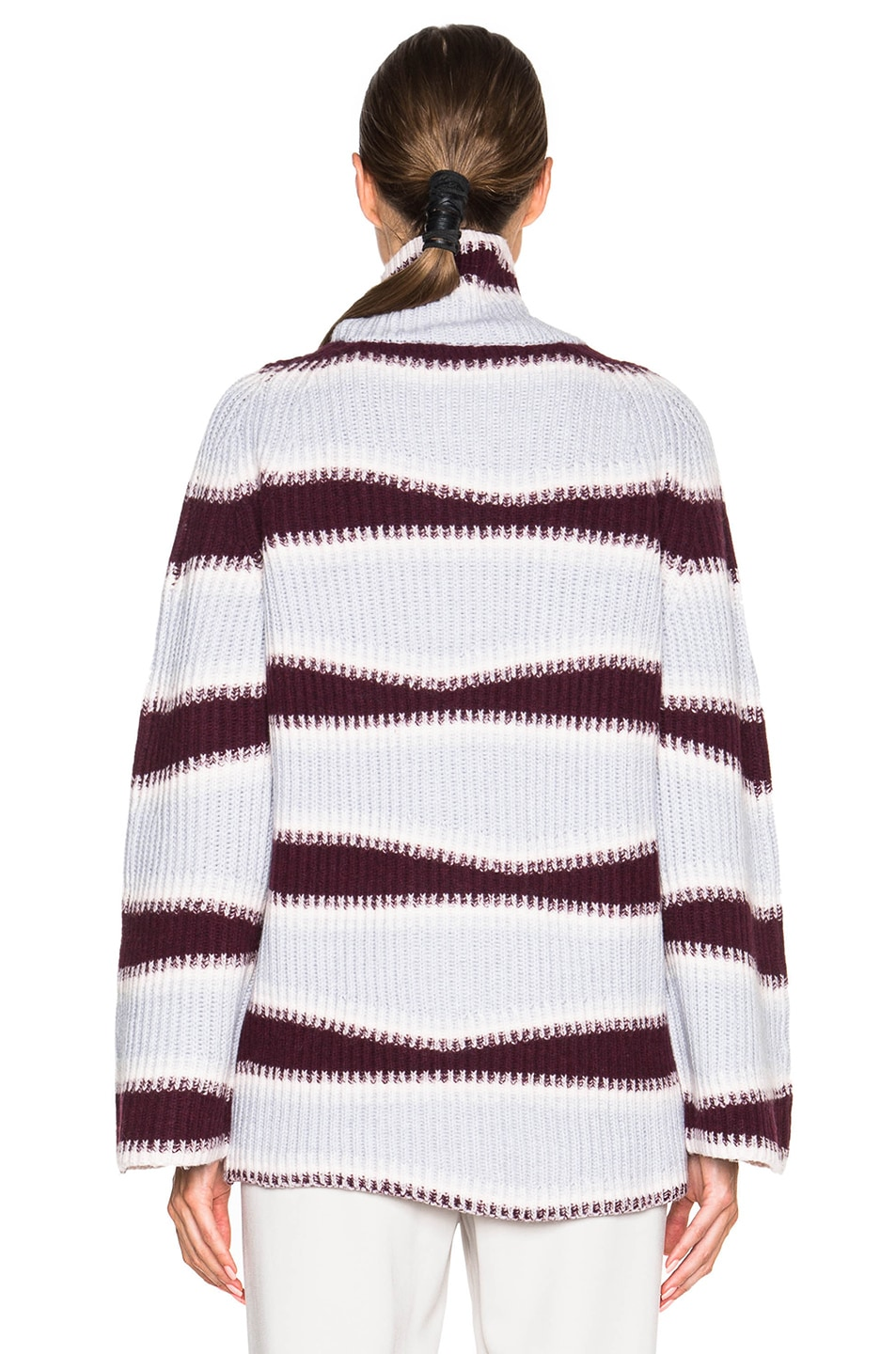 Image 4 of Kenzo Abstract Striped Wool Sweater in Burgundy