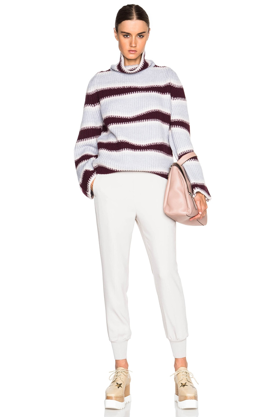 Image 5 of Kenzo Abstract Striped Wool Sweater in Burgundy