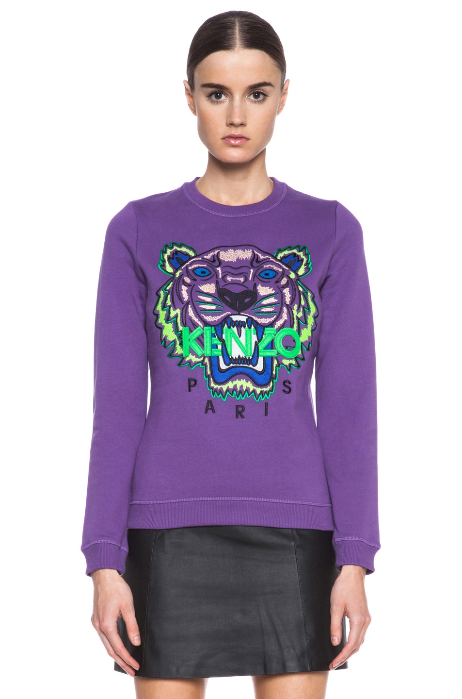 Image 1 of KENZO Embroidered Tiger Sweatshirt in Violet
