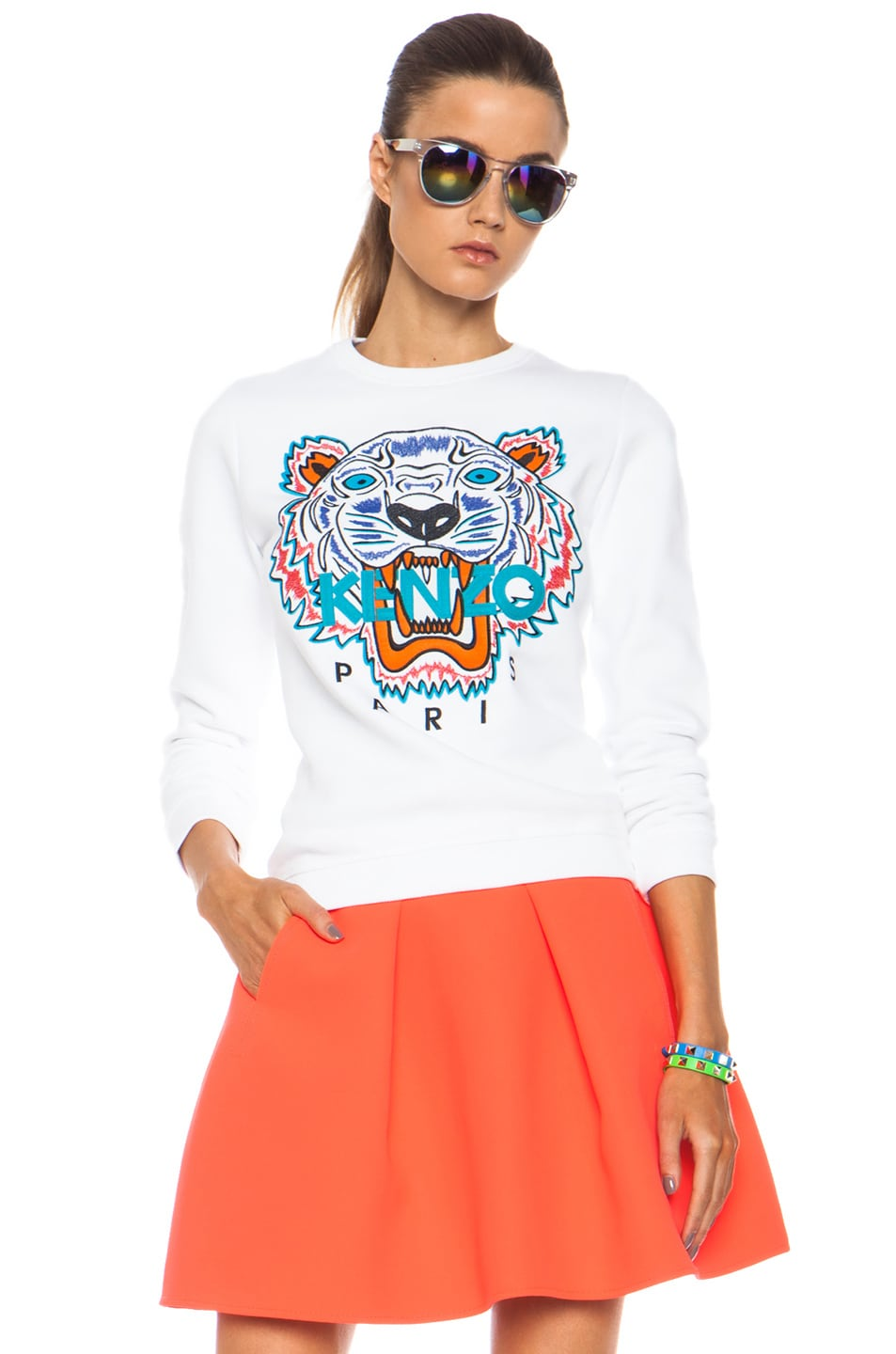 Image 1 of KENZO Embroidered Tiger Sweatshirt in White