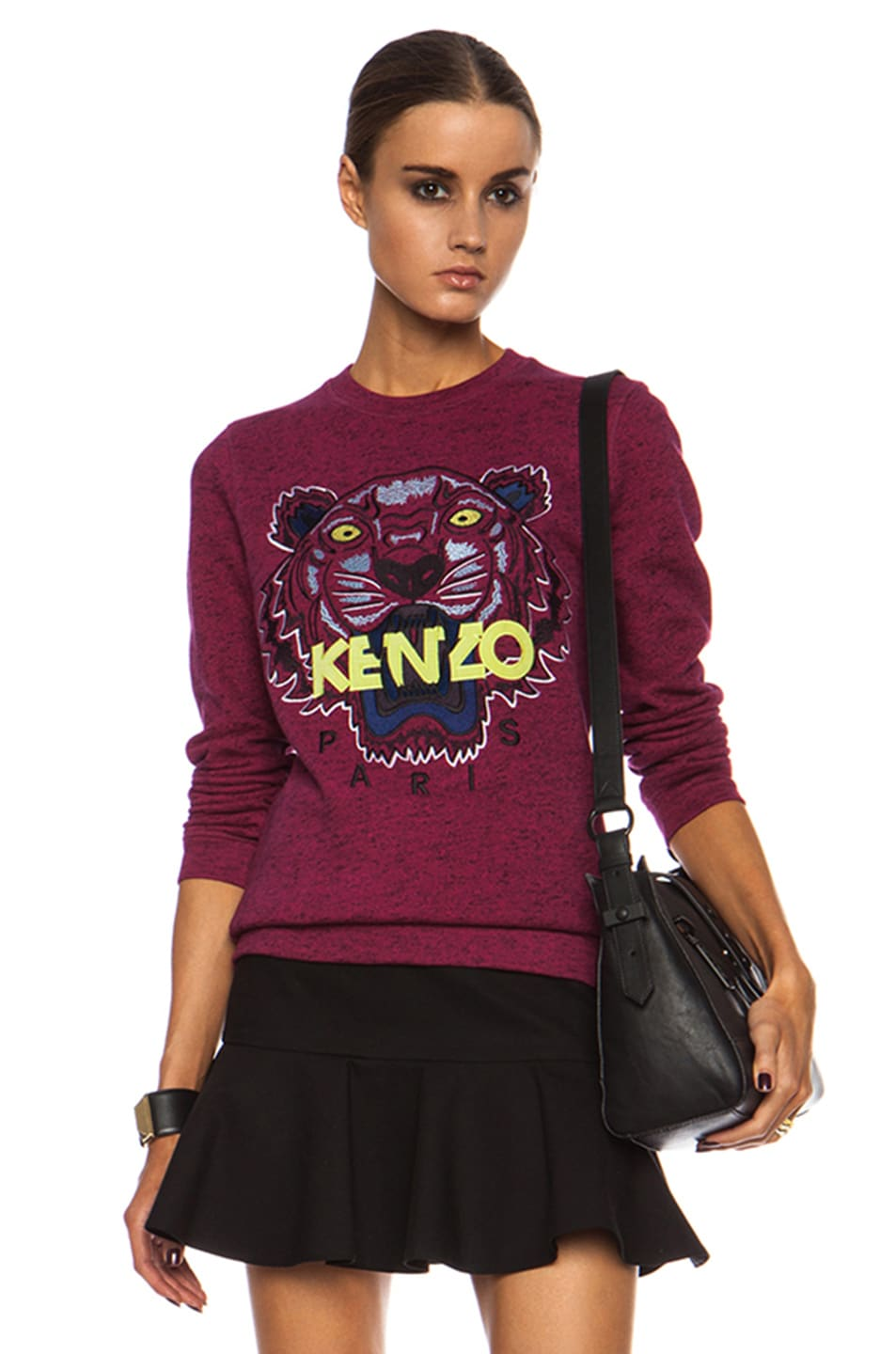 8f5fc2cf4f3 Image 1 of Kenzo Tiger Cotton Sweatshirt in Deep Fuschia