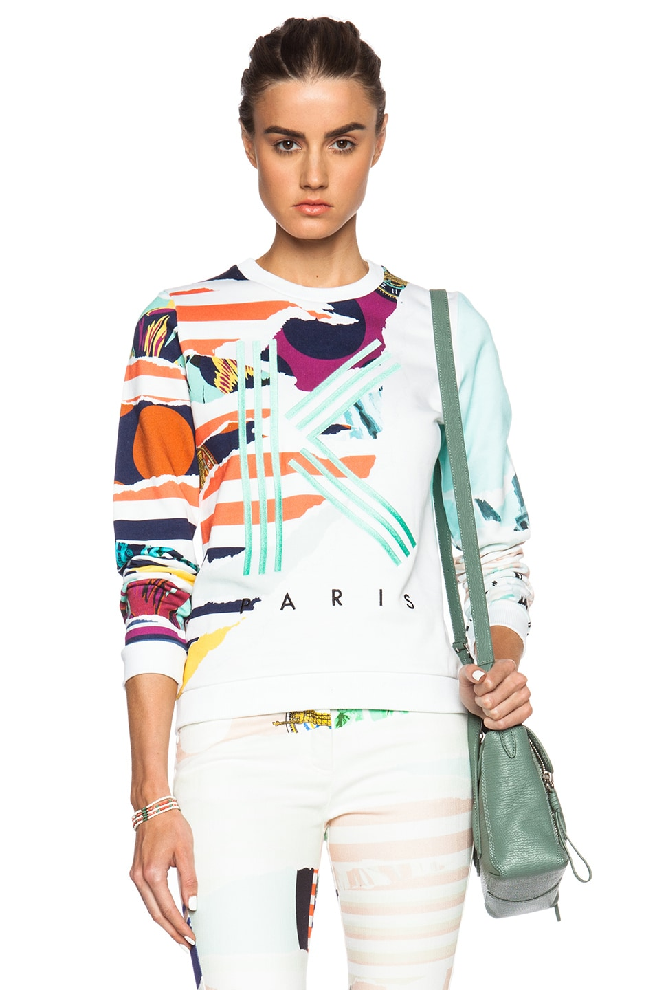 Image 1 of KENZO Striped Flowers K Sweatshirt in White
