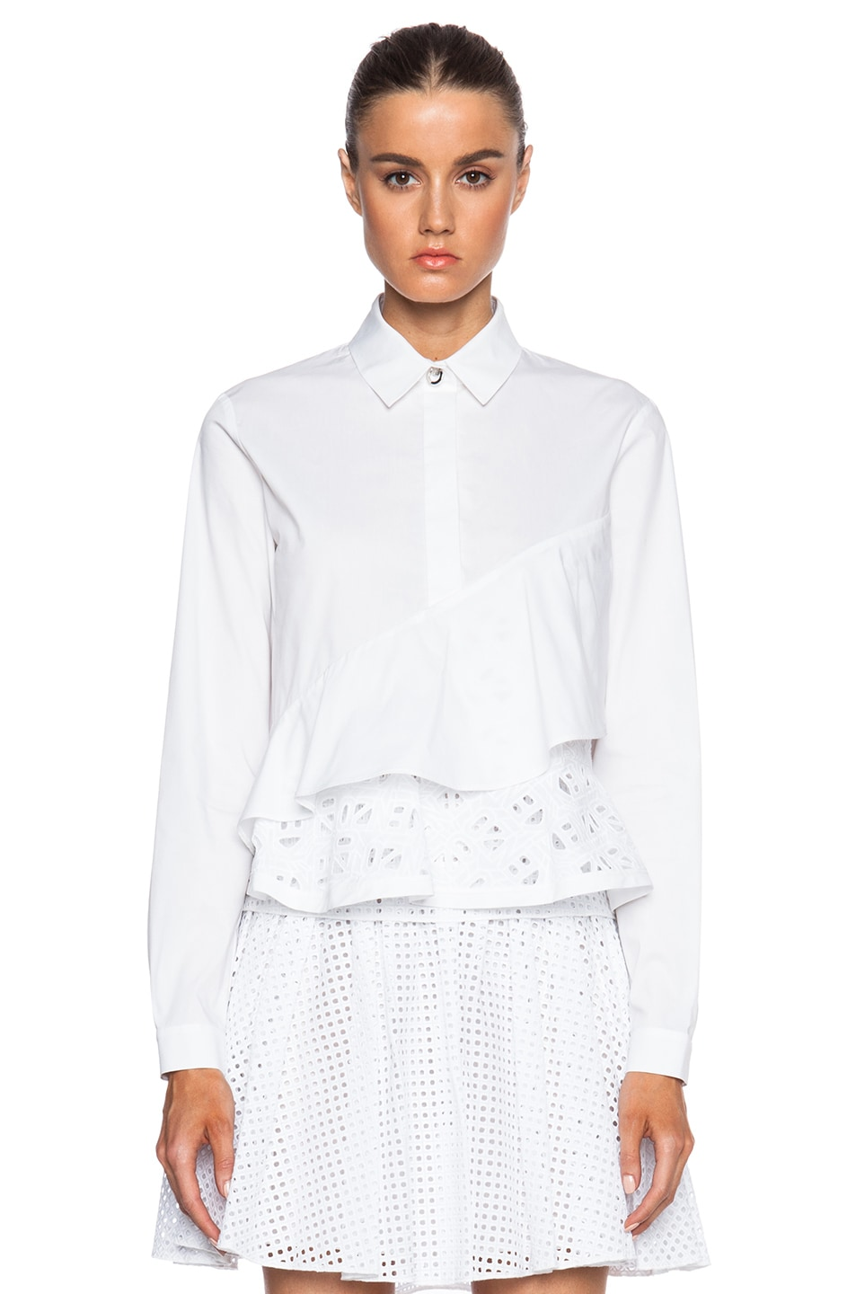 84a9d70fc Image 1 of Kenzo Flying Kenzo Openwork Embroidered Tiered Cotton Blouse in  White